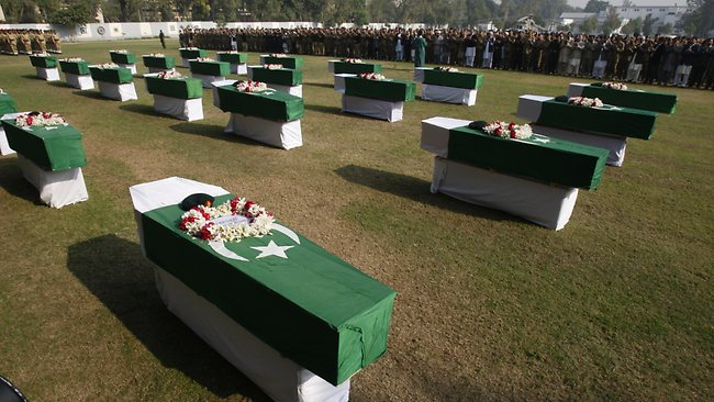 Funeral of Pakistani soldiers killed by NATO attack